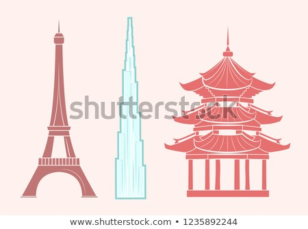 Eiffel Tower, Burj khalifa and Chinese Temple Stock photo © robuart