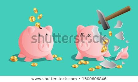 Broken pink piggy bank by hammer, bright gold coins Stock photo © MarySan
