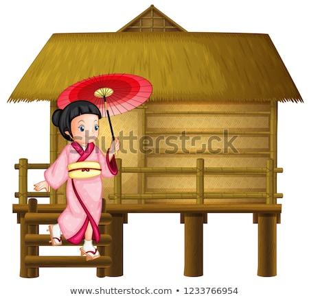 Japoński dziewczyna bambusa chata ilustracja szczęśliwy Zdjęcia stock © colematt