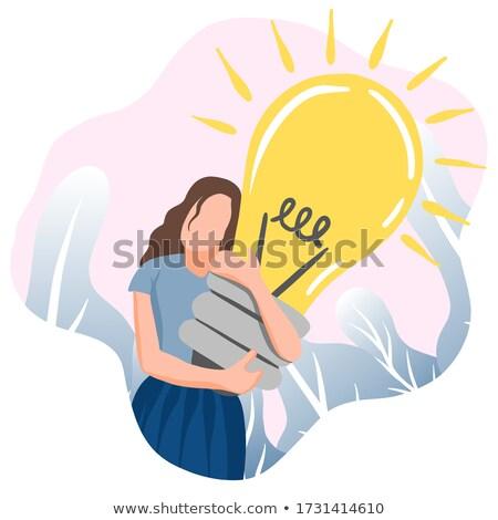 zakenvrouw · holding · handen · omhoog · iets · project · presentatie - stockfoto © rastudio