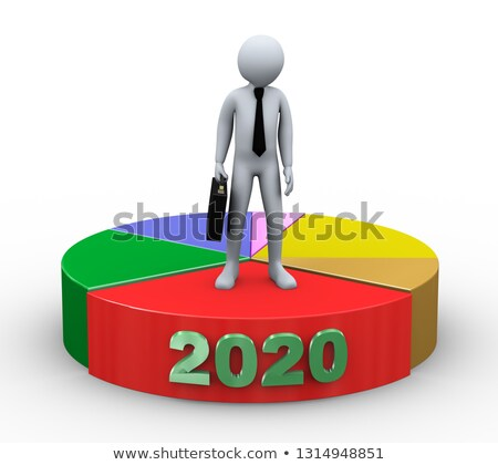 3d businessman on 2020 pie chart Stock photo © ribah