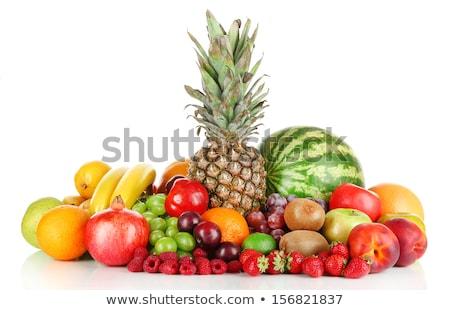 Stock fotó: Halom · különböző · gyümölcsök · bogyók · izolált · fehér