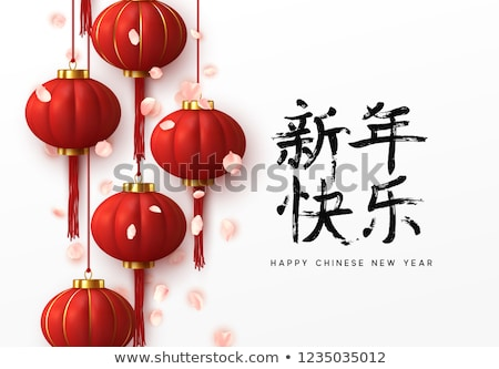 Chinese New Year 3d red lanterns and flower petals Stock photo © cienpies