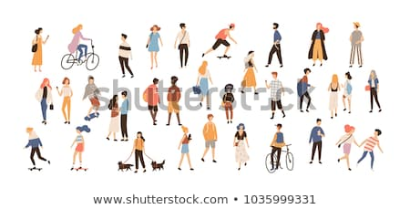 girl on bicycle   modern colorful vector cartoon character illustration stock photo © decorwithme
