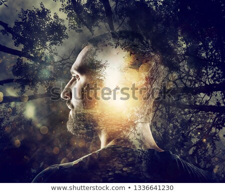 Stockfoto: Boy With A Mystical Forest In Mind Double Exposure