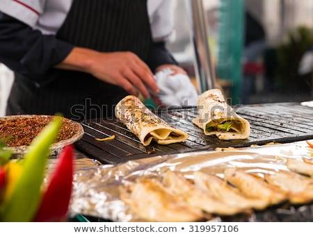 рыбы рынке быстрого питания различный морепродуктов Полки Сток-фото © cookelma