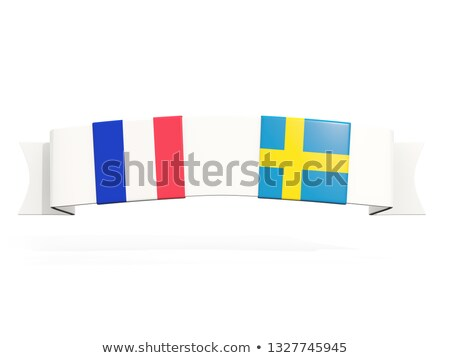 Szalag kettő tér zászlók Franciaország Svédország Stock fotó © MikhailMishchenko