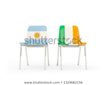 два стульев флагами Аргентина Ирландия изолированный Сток-фото © MikhailMishchenko
