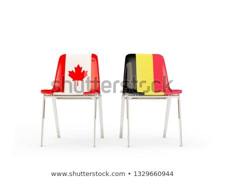 Twee stoelen vlaggen Canada België geïsoleerd Stockfoto © MikhailMishchenko