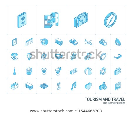 beach color outline isometric icons stock photo © netkov1