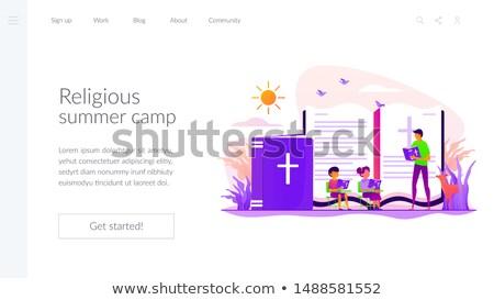 религиозных летний лагерь посадка страница крошечный люди Сток-фото © RAStudio