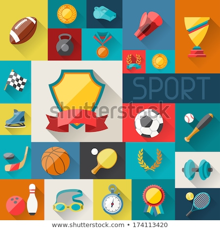 Baseball Trophy cup, award,  icon in flat style. stock photo © kyryloff