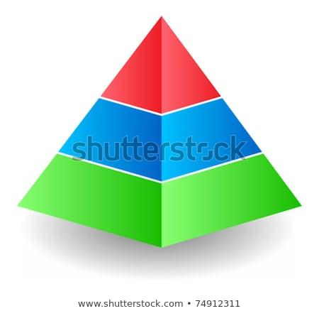 red and blue 3d pyramid icon vector illustration stock photo © cidepix