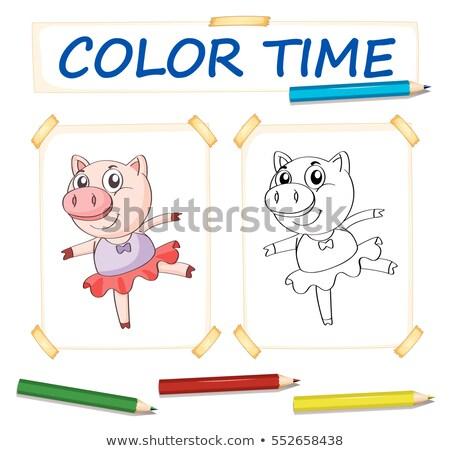 шаблон свинья балет платье иллюстрация фон Сток-фото © colematt