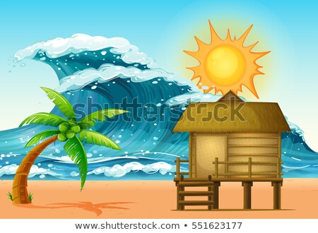 Scene with cabin and big waves Stock photo © colematt