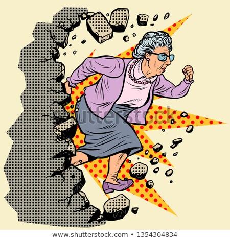 активный старые бабушка пенсионер стены движущихся Сток-фото © studiostoks