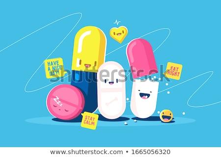 vector set of medicine capsule cartoon Stock photo © olllikeballoon