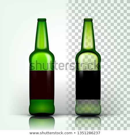 Stock photo: Beer Bottle Vector. Craft Cold Drink. Brewery Poster. Pub Refreshment. Green. 3D Transparent Isolate
