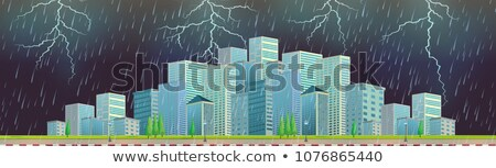 Roadside with Modern Cityscape Thunderstorm Stock photo © colematt