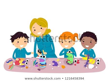 Stickman Kids Puppets Teacher Illustration Stock photo © lenm