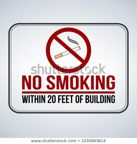 No smoking sign. within 20 feet of building. Vector illustration Stock photo © kyryloff