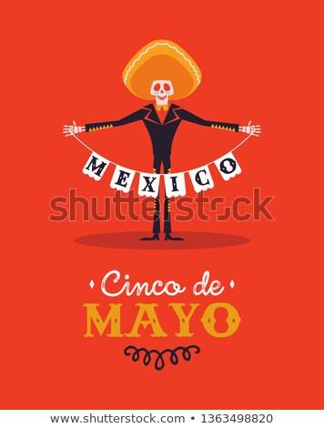 happy cinco de mayo card of mexican mariachi man stock photo © cienpies
