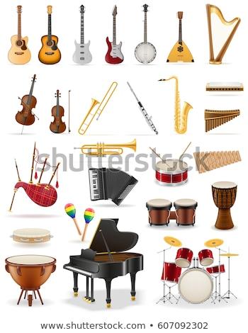 Establecer música instrumento ilustración guitarra fondo Foto stock © colematt