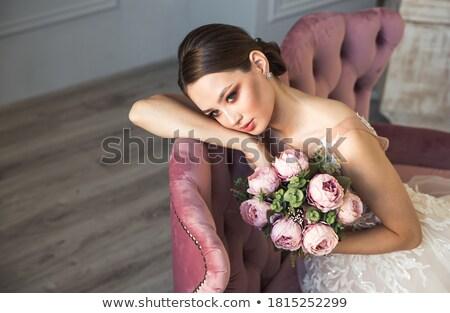 Csinos elegáns lány ruha hajviselet smink Stock fotó © ElenaBatkova