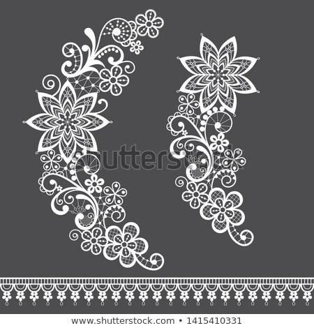 Retro floral lace half wreath  single vector pattern set - ornamental lace design collection, retro  Stock photo © RedKoala
