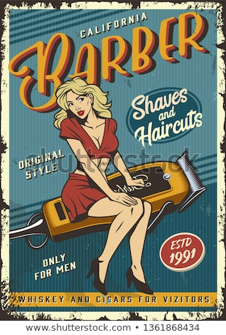 hair styling poster woman sitting and hairdresser stock photo © robuart