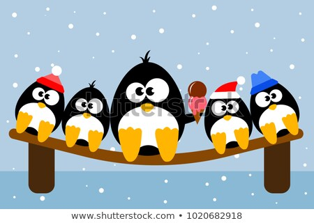 Penguin Happily Eating Ice Cream in Cone Vector Stock photo © robuart