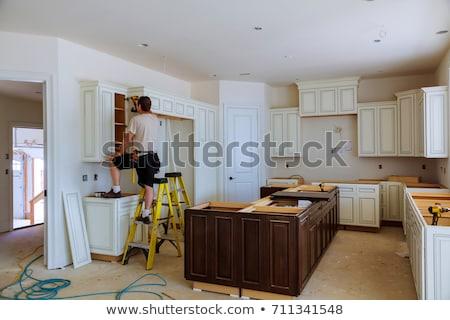 installation · cuisine · tiroir · placard · bois · blanche - photo stock © AndreyPopov