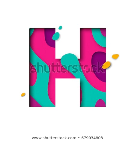 colorful paper cut out font letter h 3d stock photo © djmilic