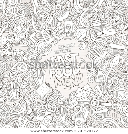 Fastfood hand drawn vector doodles illustration. Fast food frame card design. Stock photo © balabolka