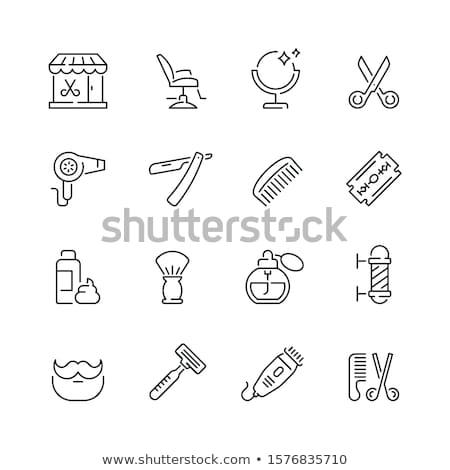 establecer · pelo · peine · iconos · silueta · estilo - foto stock © netkov1