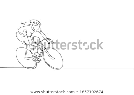 cyclist on bicycle sporty woman lifestyle vector stock photo © robuart