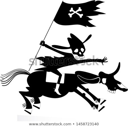 skull headed man looks like death rides on the horse illustration stock photo © tikkraf69