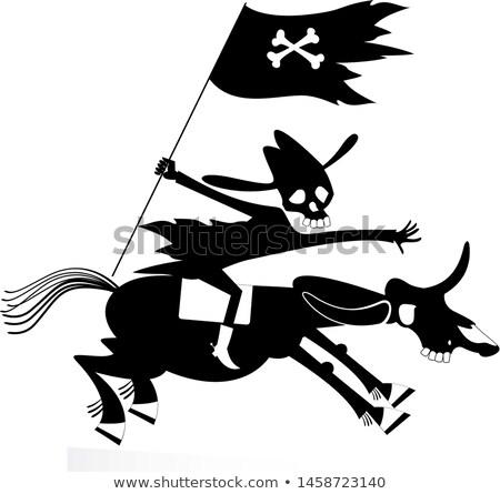 preto · e · branco · imagem · cavalo · perfeito · livros · não - foto stock © tikkraf69