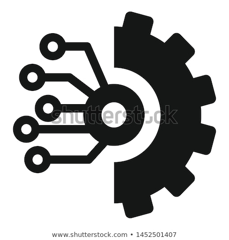 digital technology face with gears symbols background Stock photo © SArts