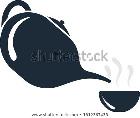zwart · wit · pot · illustratie · ontwerp · rook · zwart · en · wit - stockfoto © angelp