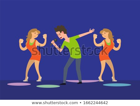 male singer and dancing girls fan dancers in club stock photo © robuart