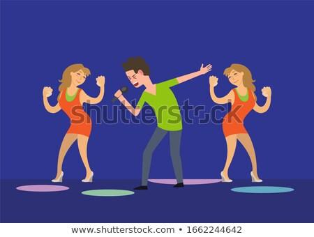 Masculina cantante baile ninas ventilador bailarines Foto stock © robuart