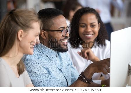 Szef pracownika słuchania biznesmen zadanie celu Zdjęcia stock © robuart