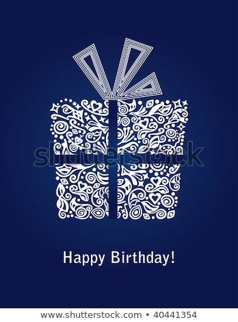 happy birthday greeting card present box and men stock photo © robuart