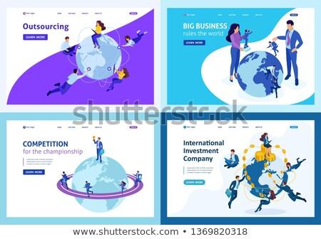 Internationale bedrijfsleven landing pagina geslaagd onderhandeling Stockfoto © RAStudio