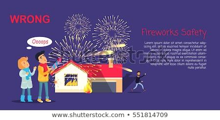 Feux d'artifice sécurité faux pyrotechnie cartoon vecteur Photo stock © robuart