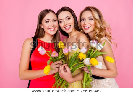 Womens Day with Girls Holding Spring Bouquets Stock photo © robuart