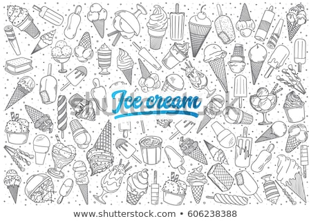 cartoon hand drawn doodles ice cream illustration stock photo © balabolka