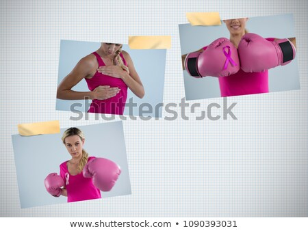 Сток-фото: Breast Cancer Awareness Photo Collage With Woman Wearing Boxing Gloves