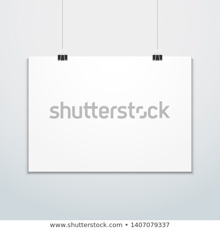 horizontal poster clips suspended mockup Stock photo © TRIKONA